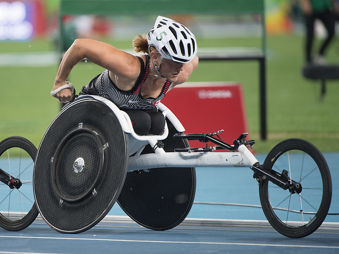 RIO DE JANEIRO - 12/9/2016:  Diane Roy competes in the Women's 1500m - T54 Heat at the Olympic Stadium during the Rio 2016 Paralympic Games in Rio de Janeiro, Brazil. (Photo by Matthew Murnaghan/Canadian Paralympic Committee