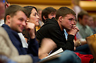 September 28, 2011; Students listen to the participants on stage during their discussion titled, &quot;The Conversation: Developing the Schools Our Children Deserve&quot; part of the 2011-12 Notre Dame Forum at the Leighton Concert Hall. Photo by Barbara Johnston/University of Notre Dame