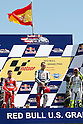 July 25, 2010 - Laguna Seca, USA - Celebrating their victory at the podium are (from left to right) Ducati's Casey Stoner (second place), Fiat-Yamaha's Jore Lorenzo (first place) and Fiat-Yamaha's Valentino Rossi (third place) after the U.S. Grand Prix held on July 25, 2010.  (Photo Andrew Northcott/Nippon News)