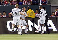 Real Salt Lake defender Chris Wingert (17) celebrates his goal with teammates Nat Borchers (6-l) and Andy Williams (77-r). Real Salt Lake defeated CD Chivas USA 2-1at Home Depot Center stadium in Carson, California on Saturday May 22, 2010.  .