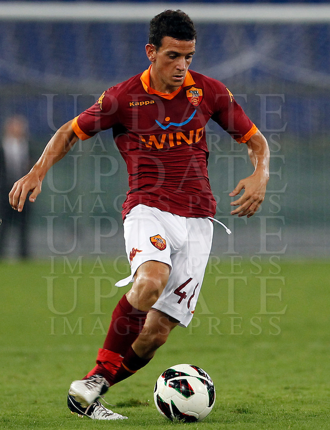 Calcio: partita amichevole Roma-Aris Salonicco. Roma, stadio Olimpico, 19 agosto 2012..AS Roma midfielder Alessandro Florenzi, in action during a football friendly match between AS Roma and Aris Thessaloniki, at Rome, Olympic stadium, 19 August 2012..UPDATE IMAGES PRESS/Isabella Bonotto