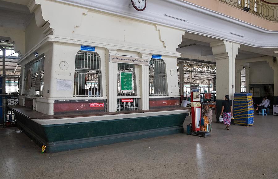 YANGON, MYANMAR - CIRCA DECEMBER 2013: Ticket counter at the Yangon Central Railway Station