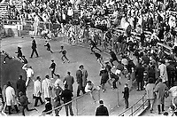 Kezar Statium 1967, fans swarm the field after San Francisco 49ers game with the Baltimore Colts ended.<br />