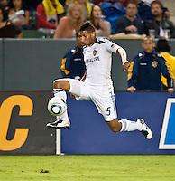 CARSON, CA – August 6, 2011: LA Galaxy midfielder Sean Franklin (5) during the match between LA Galaxy and FC Dallas at the Home Depot Center in Carson, California. Final score LA Galaxy 3, FC Dallas 1.