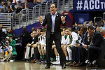 11 March 2016: Notre Dame head coach Mike Brey. The University of North Carolina Tar Heels played the University of Notre Dame Fighting Irish at the Verizon Center in Washington, DC in the Atlantic Coast Conference Men's Basketball Tournament semifinal and a 2015-16 NCAA Division I Men's Basketball game. UNC won the game 78-47.