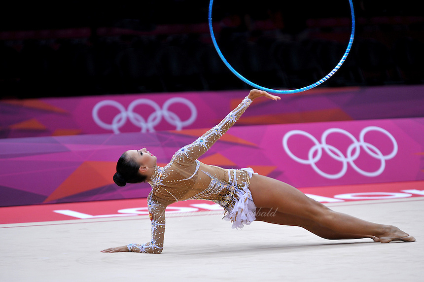 August 11, 2012; London, Great Britain;  DARIA DMITRIEVA of Russia performs with hoop in rhythmic gymnastics individual All-Around final to win silver at London 2012 Olympics.
