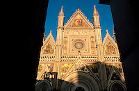 The Cathedral of Orvieto (Duomo) built in the 14th century under the order of Pope Urban IV, a Roman Catholic cathedral dominating the historic village of Orvieto, Umbria, Italy