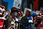 NEWS- People in Costumed Characters protest for the right to work