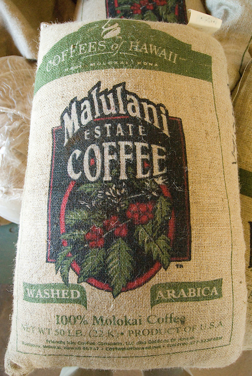 Hawaii: Molokai, coffee beans bagged for shipment, seen during Coffees of Hawaii tour..Photo himolo246-72477..Photo copyright Lee Foster, www.fostertravel.com, lee@fostertravel.com, 510-549-2202