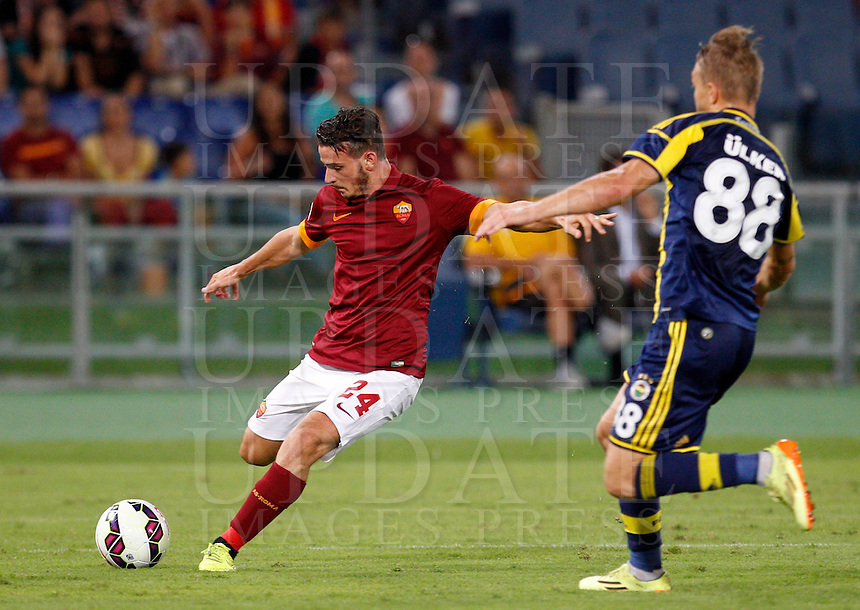 Calcio, amichevole Roma vs Fenerbahce. Roma, stadio Olimpico, 19 agosto 2014.<br /> Roma midfielder Alessandro Florenzi is challenged by Fenerbache midfielder Caner Elkin, right, during the friendly match between AS Roma and Fenerbahce at Rome's Olympic stadium, 19 August 2014.<br /> UPDATE IMAGES PRESS/Riccardo De Luca