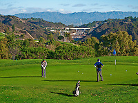 Beautiful  Golf Course, Golfers putting, 405 Freeway below,  Mountaingate, Brentwood, CA, Panorama, Santa Monica Mountains,  Country Club,  California, picturesque, Panorama,
