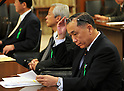 April 3, 2012, Tokyo, Japan - Kazuhiko Asakawa, president of AIJ Investment Advisors Co. appears before a Diet upper house financial committee meeting probing into the pension fund scam in Tokyo on Tuesday, April 3, 2012...Asakawa was reported to have concealed trading losses and fabricated reports on the assets managed to attract pension funds. AIJ oversaw 145.8 billion yen of clients money and lost 109.2 billion yen from derivatives trades directed by Asakawa over nine years, according to the media reports. (Photo by Natsuki Sakai/AFLO) AYF -mis-.