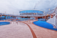 Rain covers the pool deck of the cruise ship Emerald Princess.