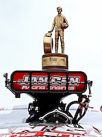 Apr 27, 2014; Baytown, TX, USA; Detailed view of the Wally trophy on the injectors of NHRA pro mod driver Mike Janis car after winning the Spring Nationals at Royal Purple Raceway. Mandatory Credit: Mark J. Rebilas-
