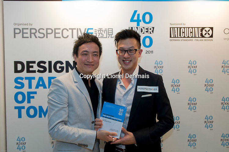Architect Manfred Yuen (R) receives his 40 Under 40 Perspective magazine award.