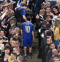 FUSSBALL WM 2014                FINALE Deutschland - Argentinien     13.07.2014 Schwerer Gang: Lionel Messi (Argentinien)muss als Verlierer zum Siegerpodest