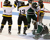 Mike Cox (WIT - 4), Adam Frank (WIT - 13), Jordan Bourgonje (WIT - 16) - The visiting Plymouth State University Panthers defeated the Wentworth Institute of Technology Leopards 2-1 on Monday, November 19, 2012, at Matthews Arena in Boston, Massachusetts.