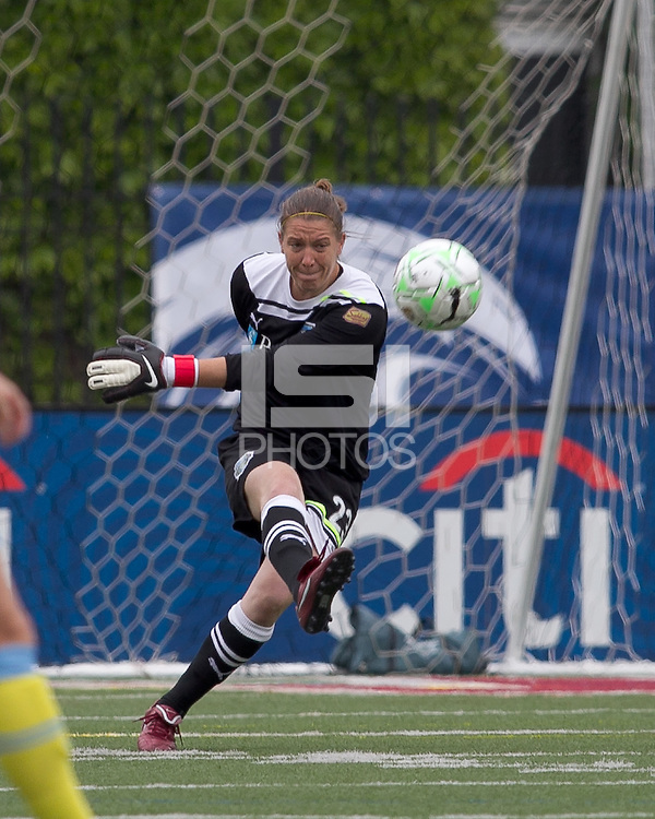 Philadelphia Independence goalkeeper Nicole Barnhart (23). In a Women's Professional Soccer (WPS) match, the Boston Breakers tied the Philadelphia Independence, 1-1, at Harvard Stadium on May 22, 2011.