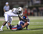 Ole Miss wide receiver Korvic Neat (28) vs. Vanderbilt safety Eric Samuels (22) at Vaught-Hemingway Stadium in Oxford, Miss. on Saturday, November 10, 2012.