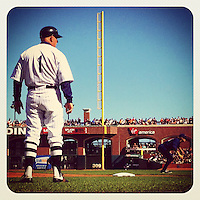 SAN FRANCISCO, CA - JUNE 2: Instagram of San Francisco Giants coach Tim Flannery coaching third base during the game against the Chicago Cubs at AT&T Park on June 2, 2012 in San Francisco, California. (Photo by Brad Mangin)