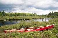 A solo canoe at Craig Lake State Park near Michigamme Michigan.