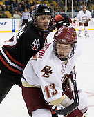 Steve Silva (Northeastern - 17), Cam Atkinson (Boston College - 13) - The Northeastern University Huskies defeated the Boston College Eagles 6-1 in their opening 2009 Beanpot game at TD Banknorth Garden in Boston, MA.