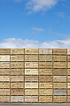 Stacks of empty wooden potato boxes at a potato merchants in Perthshire, Scotland