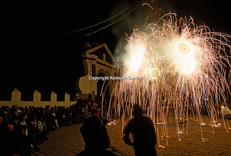 Fireworks in celebration of the Virgin of Candelaria,  Empires of the Sun; Bolivia; native peoples; Andes; Tiwanaku; Copacabana