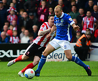 Lincoln City's Billy Knott vies for possession with Macclesfield Town's Luke Summerfield<br /> <br /> Photographer Andrew Vaughan/CameraSport<br /> <br /> Vanarama National League - Lincoln City v Macclesfield Town - Saturday 22nd April 2017 - Sincil Bank - Lincoln<br /> <br /> World Copyright &copy; 2017 CameraSport. All rights reserved. 43 Linden Ave. Countesthorpe. Leicester. England. LE8 5PG - Tel: +44 (0) 116 277 4147 - admin@camerasport.com - www.camerasport.com