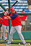 6 March 2009: Washington Nationals' catcher Luke Montz takes batting practice prior to a Spring Training game against the Baltimore Orioles at Fort Lauderdale Stadium in Fort Lauderdale, Florida. The Orioles defeated the Nationals 6-2 in the pre-season Grapefruit League matchup. Mandatory Photo Credit: Ed Wolfstein Photo
