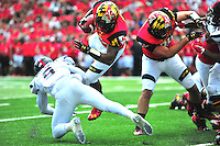 RB Brandon Ross of the Terrapins goes airborne. Maryland defeated Richmond 50-21 during home season opener at the Byrd Stadium in College Park, MD on Saturday, September 5, 2015.  Alan P. Santos/DC Sports Box