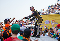 Sep 25, 2016; Madison, IL, USA; NHRA top fuel driver Tony Schumacher during the Midwest Nationals at Gateway Motorsports Park. Mandatory Credit: Mark J. Rebilas-USA TODAY Sports