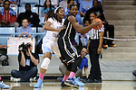 02 March 2014: Duke's Elizabeth Williams (right) and North Carolina's Stephanie Mavunga (left). The University of North Carolina Tar Heels played the Duke University Blue Devils in an NCAA Division I women's basketball game at Carmichael Arena in Chapel Hill, North Carolina. UNC won the game 64-60.