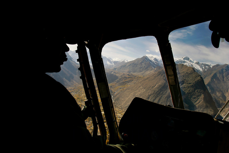 Peaks of Karokoram Mountains from helicopter cockpit, Skardu Valley, North Pakistan
