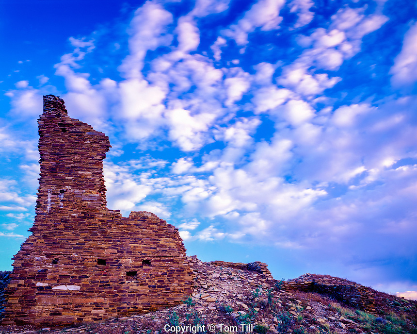 Sunset clouds at Kin Ya'a ruin, Chaco Culture National Historical Park, New Mexico, Tower Ancestral Puebloan ruin, also called Tall House or Standing Up House