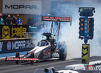 Jul 24, 2016; Morrison, CO, USA; NHRA top fuel driver Steve Torrence during the Mile High Nationals at Bandimere Speedway. Mandatory Credit: Mark J. Rebilas-USA TODAY Sports