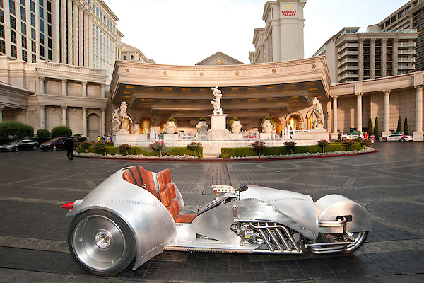 LAS VEGAS, NV - June 29: Rivet motorcycle pictured as William Shatner stops at Caesars Palace to showcase the creation of Rivet by American Wrench at Caesars Palace in Las Vegas, NV on June 30, 2015. Credit: Erik Kabik Photography/ MediaPunch ***HOUSE COVERAGE***