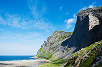 Scenic summer view of Bunes beach, Moskenesoy, Lofoten islands, Norway