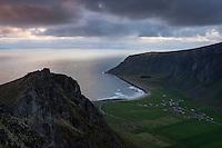 View over Unstad from Nonstind mountain peak, Vestvågøy, Lofoten Islands, Norway