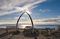 Bowhead whale jaw bone arch with wooden Umiak frames (whale hunting boats) Utqiagvik (Barrow), Alaska.