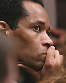 Sniper suspect John Allen Muhammad listens to testimony during his trial in courtroom 10 at the Virginia Beach Circuit Court in Virginia Beach, Virginia, on October 31, 2003. <br /> Credit: Adrin Snider - Pool via CNP