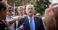 Republican Mayoral candidate Joe Lhota visits small businesses and campaigns on the 37th Avenue business district in the Jackson Heights neighborhood of Queens in New York on Friday, September 27, 2013.  Jackson Heights is a polyglot of ethnic groups ranging from Bangladeshis to South American to Indian to everyone else. (© Richard B. Levine)