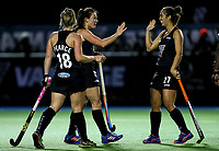 Kelsey Smith and Jordan Grant celebrate a goal during the international hockey match between the Blacksticks Women and India, Rosa Birch Park, Pukekohe, New Zealand. Tuesday 16  May 2017. Photo:Simon Watts / www.bwmedia.co.nz