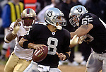 Oakland Raiders quarterback Marques Tuiasosopo (8) on Saturday, August 24, 2002, in Oakland, California. The Raiders defeated the 49ers 17-10 in a preseason game.