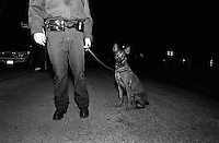 USA, Texas, outside of Laredo, America Untitled, Authority Migration/Control. Officer Dona (the dog) at a checkpoint 20 miles north of Laredo. These US officers, including Dona, look for illegal migrating people, materials, and substances, December 2003 © Stephen Blake Farrington