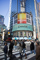 Advertising for JPMorgan Chase bank in Times Square in New York on Sunday, February 26, 2012.  (© Richard B. Levine)