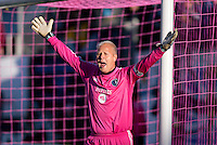 Jimmy Nielsen (1) of Sporting Kansas City yells to a referee during a Major League Soccer game at PPL Park in Chester, PA. Sporting Kansas City defeated the Philadelphia Union, 2-1.