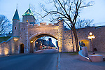 Street scenes from Vieux Quebec, the only fortified city in North America north of Mexico, Quebec City, Canada. Porte Saint Louis