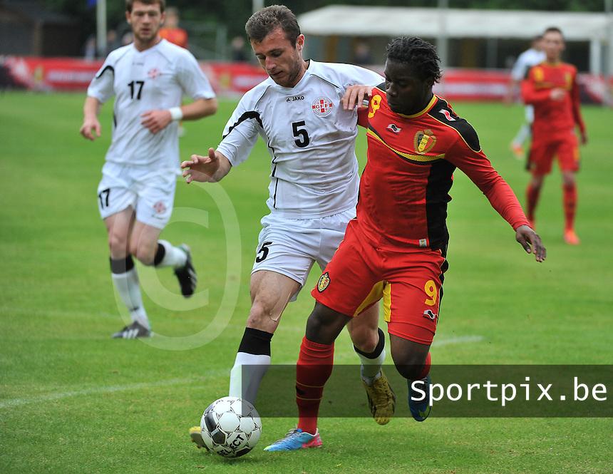 Georgia U19 - Belgium U19 : Nathan Kabasele (9) and Levan Gegetchkori (5)<br /> foto DAVID CATRY / Nikonpro.be