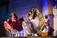 Traditional dancers on steps of Santa Barbara Mission during La Fiesta Pequena, Opening night of Annual Old Spanish Days - Fiesta celebration. Aug 5, 2009